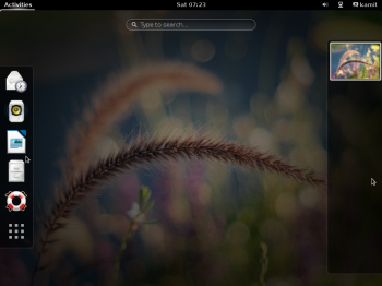 The Activities view on the GNOME 3 desktop of Siduction 2013.2
