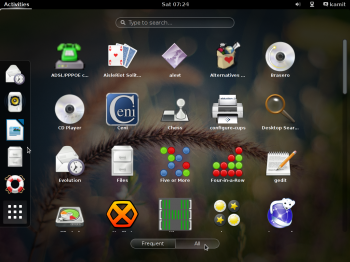 More of the appview on the GNOME 3 desktop on Siduction 2013.2.