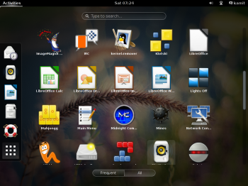 The GNOME 3 desktop on Siduction 2013.2 showing the appview.