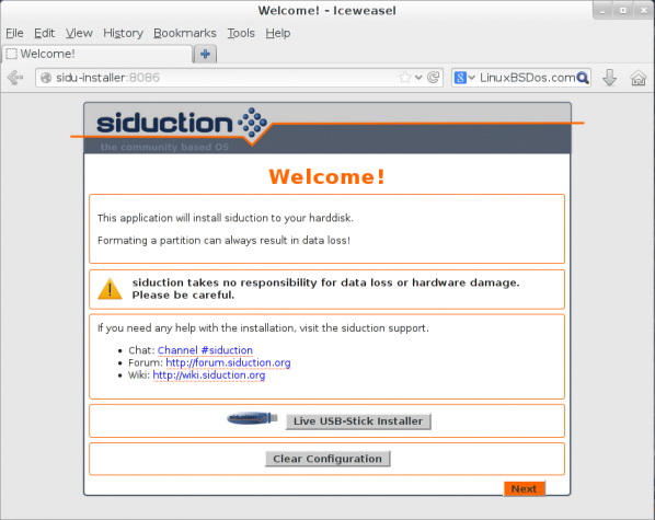 Siduction 2013.2 Installer port 8086