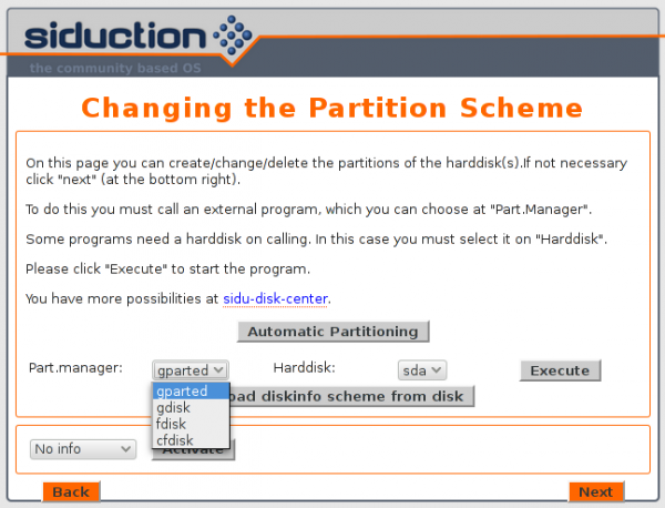 Siduction 2013.2 manual disk partition