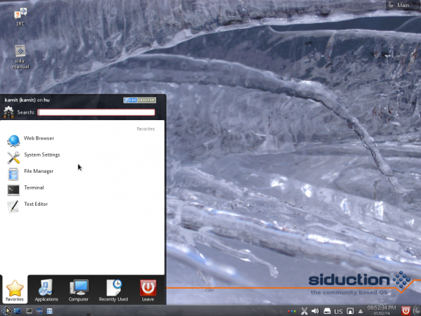 Siduction 2013.2 KDE Kickoff menu