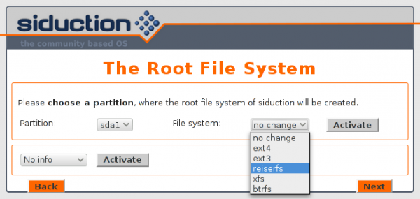 Siduction 2013.2 Root partition