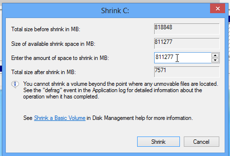 Shrink Windows 8 partition