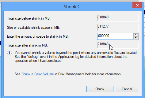 Shrink Windows 7 partition