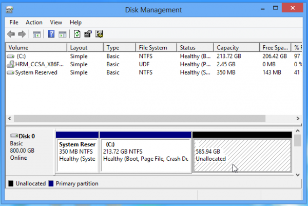 Partitioned Windows 8 disk