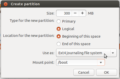 Ubuntu 13.10 create boot partition
