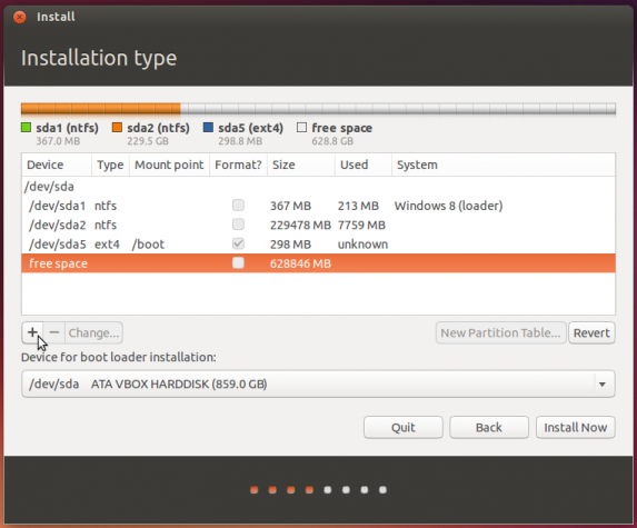 Ubuntu 13.10 create partition