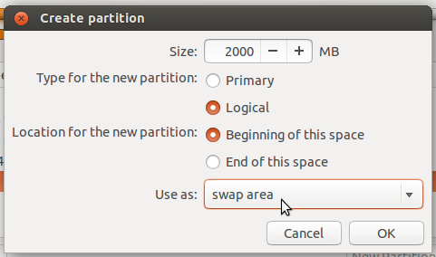 Ubuntu 13.10 create swap partition