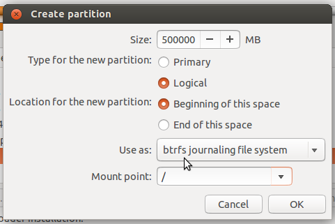 Ubuntu 13.10 create btrfs root partition