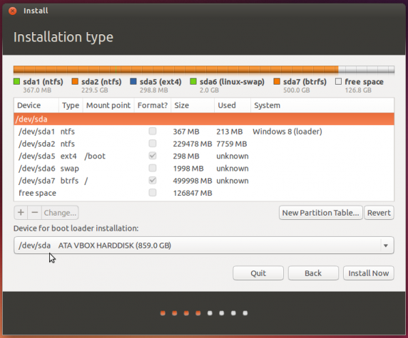 Ubuntu 13.10 partitions