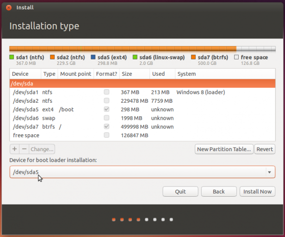 Ubuntu 13.10 install GRUB in boot partition