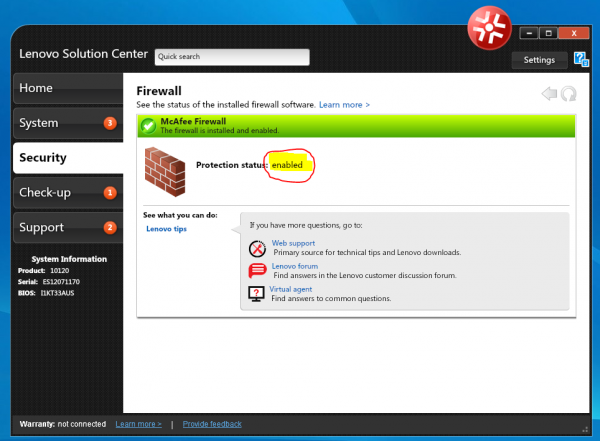 Windows 8 Firewall Lenovo IdeaCenter K450