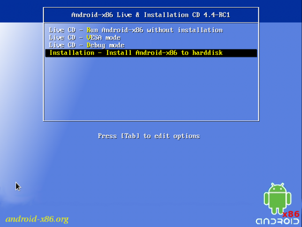 Android-x86 boot menu