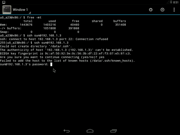 Android-x86 4.4 shell terminal ssh