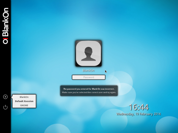 BlankOn Live desktop login screen