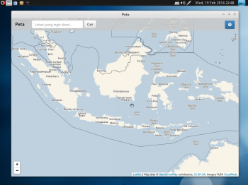 BlankOn 9.0 ships with a map application called Geo.BlankOn. It appears to be primarily of use in Indonesia
