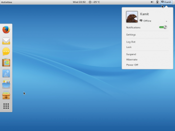 The default desktop on ROSA Desktop Fresh R2 showing the user indicator. This is running GNOME 3.8.4.