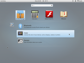 Using the integrated search feature of the GNOME 3 desktop on ROSA Desktop Fresh R2.