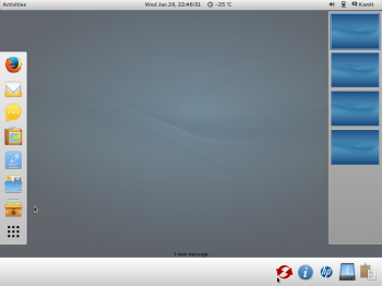 The notification indicator of the GNOME 3 desktop as seen on ROSA Desktop Fresh R2 GNOME.