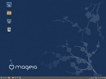 A screen shot of the default Cinnamon desktop of Mageia 4, the latest edition of Mageia.