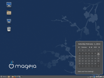 A screen shot of the default Cinnamon desktop of Mageia 4 showing the panel calendar.
