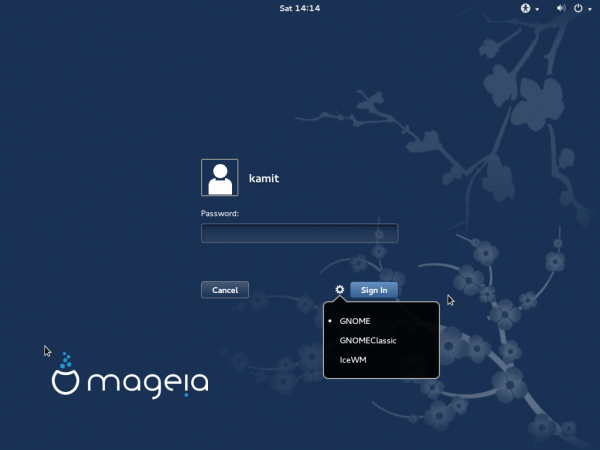 Mageia 4 GNOME 3 login screen