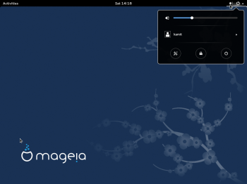 A screen shot of the GNOME 3 desktop on  Mageia 4. This is the default GNOME Shell, with no customizations.