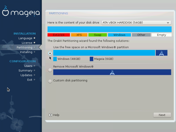 Mageia automated disk partition windows