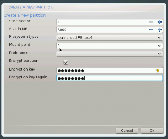 Mageia encrypt root partition