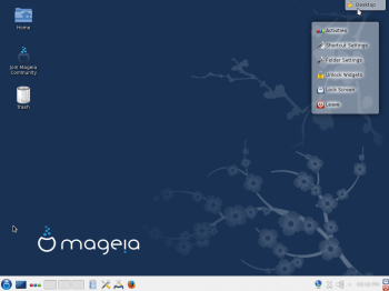 The default KDE desktop of Mageia 4.