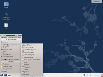 The default KDE desktop of Mageia 4 showing the menu. The KDE edition of Mageia is the only one I've used that still uses the Classical menu style by default. Most KDE desktops use the Kickoff menu.