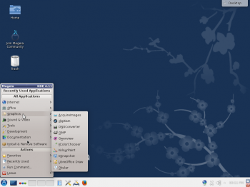 The default KDE desktop of Mageia 4 with the menu showing installed graphics applications.