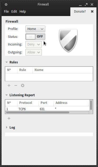 Gufw firewall Manjaro Xfce
