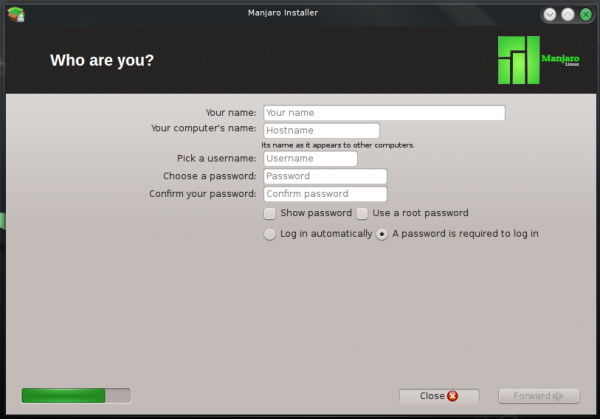 Manjaro Thus installer create user