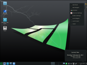 The default KDE desktop on Manjaro 0.8.9 KDE. It's powered by KDE 4.12.2