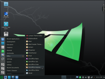 The KDE desktop on Manjaro 0.8.9 KDE with the Homerun Kicker menu showing installed Office applications.