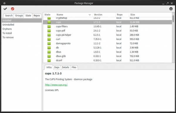 Manjaro Xfce Pamac package manager