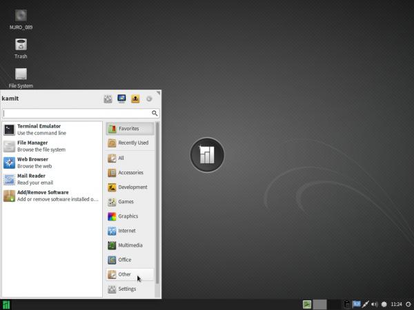Manjaro 0.8.9 Xfce menu