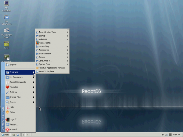 ReactOS App menu