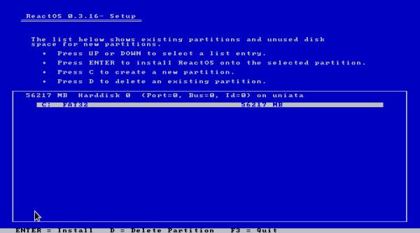 ReactOS Install