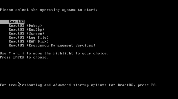 ReactOS Boot menu