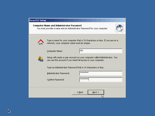 ReactOS administrator password