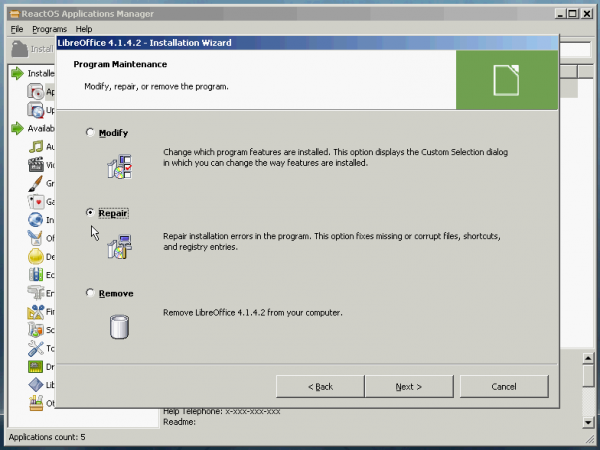 ReactOS LibreOffice crash repair