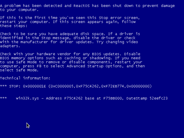 ReactOS crash