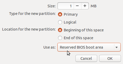 Ubuntu 13.10 create bios_grub partition