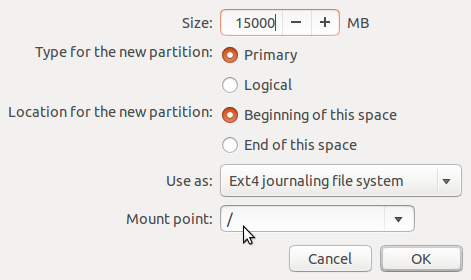 Ubuntu 13.10 create root partition