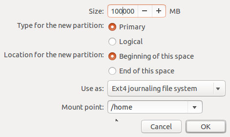 Ubuntu 13.10 create /home partition