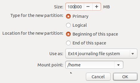 Ubuntu 13.10 create /home partition