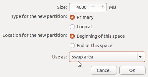Ubuntu 13.10 create swap partition